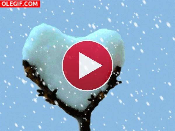 GIF: Corazón de nieve
