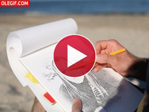 GIF: Dibujando a una chica