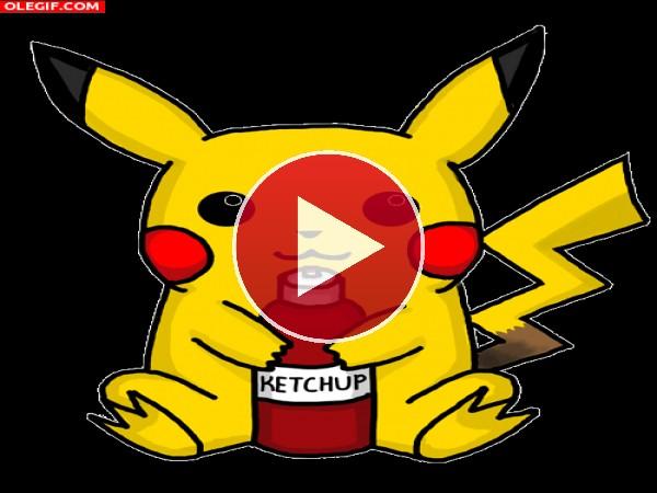 GIF: A Pikachu le gusta el ketchup