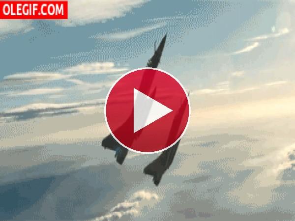 GIF: Aviones girando en el cielo