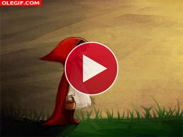 GIF: Caperucita Roja esperando al lobo