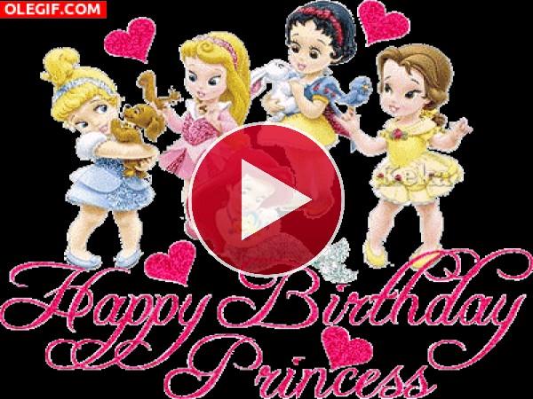GIF: Feliz cumpleaños princesas
