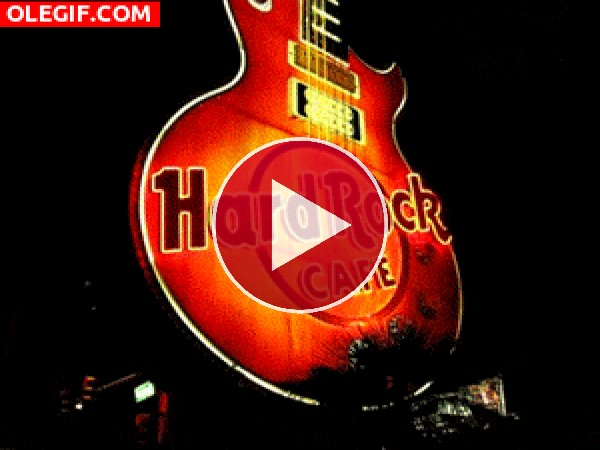 GIF: Hard Rock Cafe iluminado