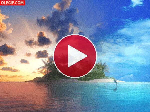 GIF: Lluvia sobre una isla