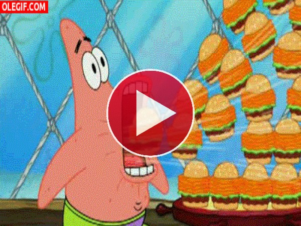 GIF: A Patricio le gustan las hamburguesas