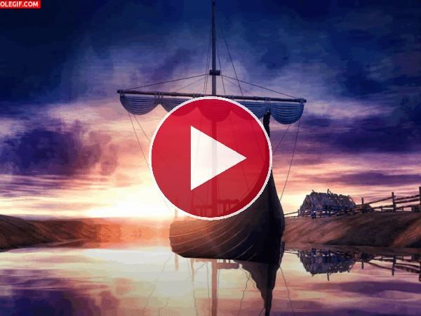 Barco vikingo en las tranquilas aguas