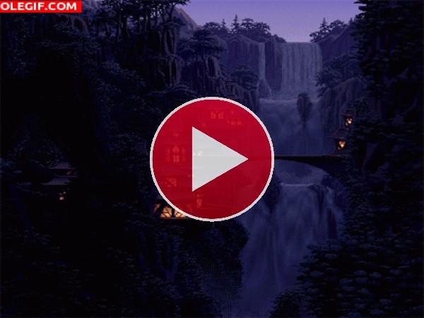 GIF: Cascada en la noche
