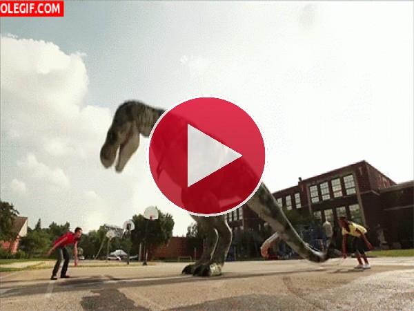 Un dinosaurio saltando a la comba