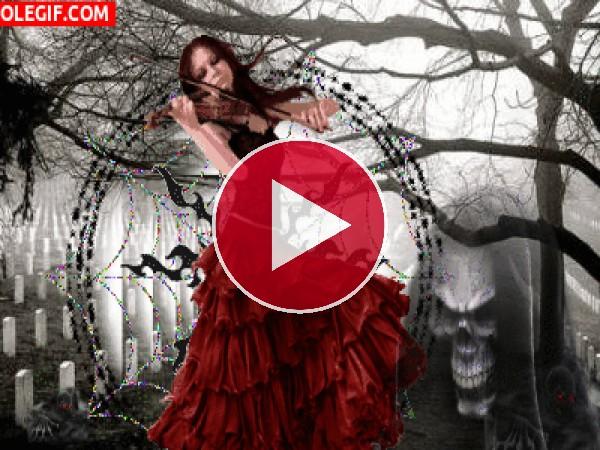 GIF: Tocando el violín en el cementerio