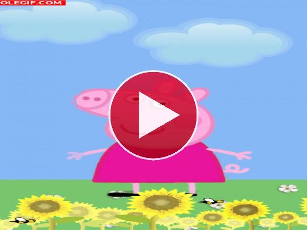 Peppa Pig disfrutando de la primavera