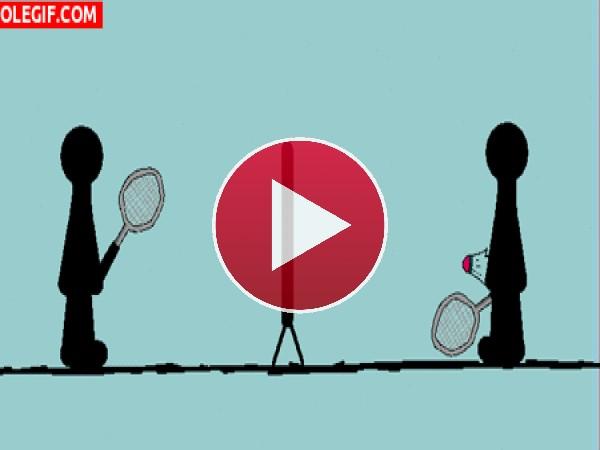 GIF: Los peligros de jugar al badminton