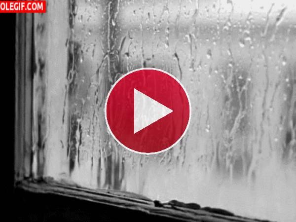 Lluvia chocando contra la ventana