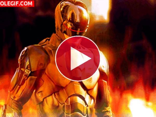 Robocop en llamas