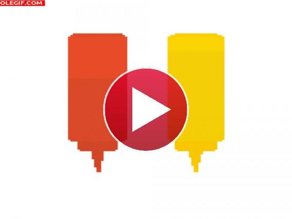 GIF: Mostaza y Ketchup (pixel art)