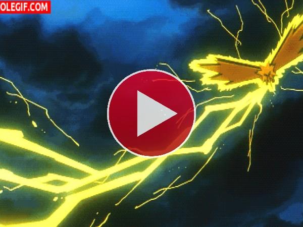 GIF: Zapdos generando un rayo (Pokemon)