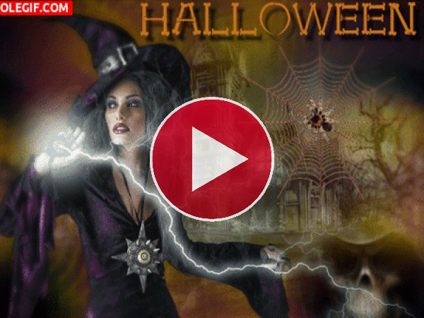 GIF: Bruja poderosa en Halloween