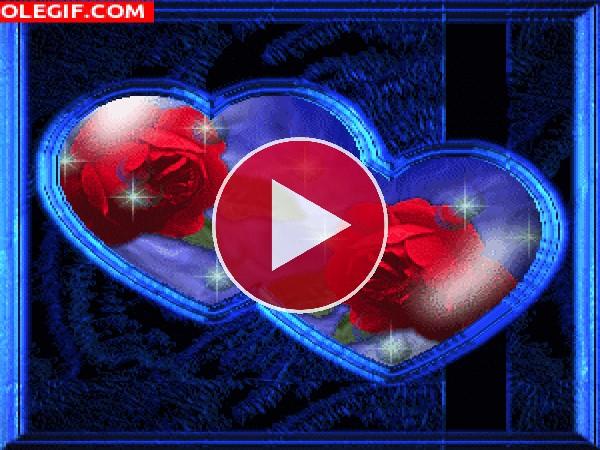 GIF: Corazones con rosas