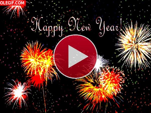 GIF: Feliz Año Nuevo con fuegos artificiales