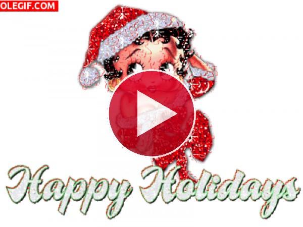 GIF: Betty Boop te desea unas felices fiestas