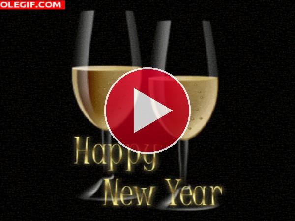 GIF: Feliz Año Nuevo con champán